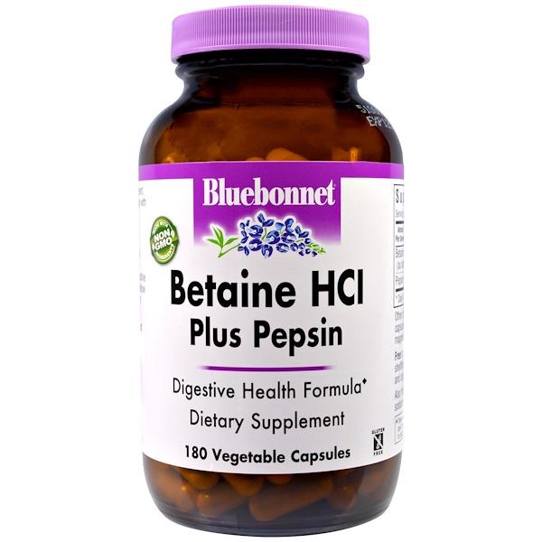 Betaine HCL, Plus Pepsin, 180 Veggie Caps