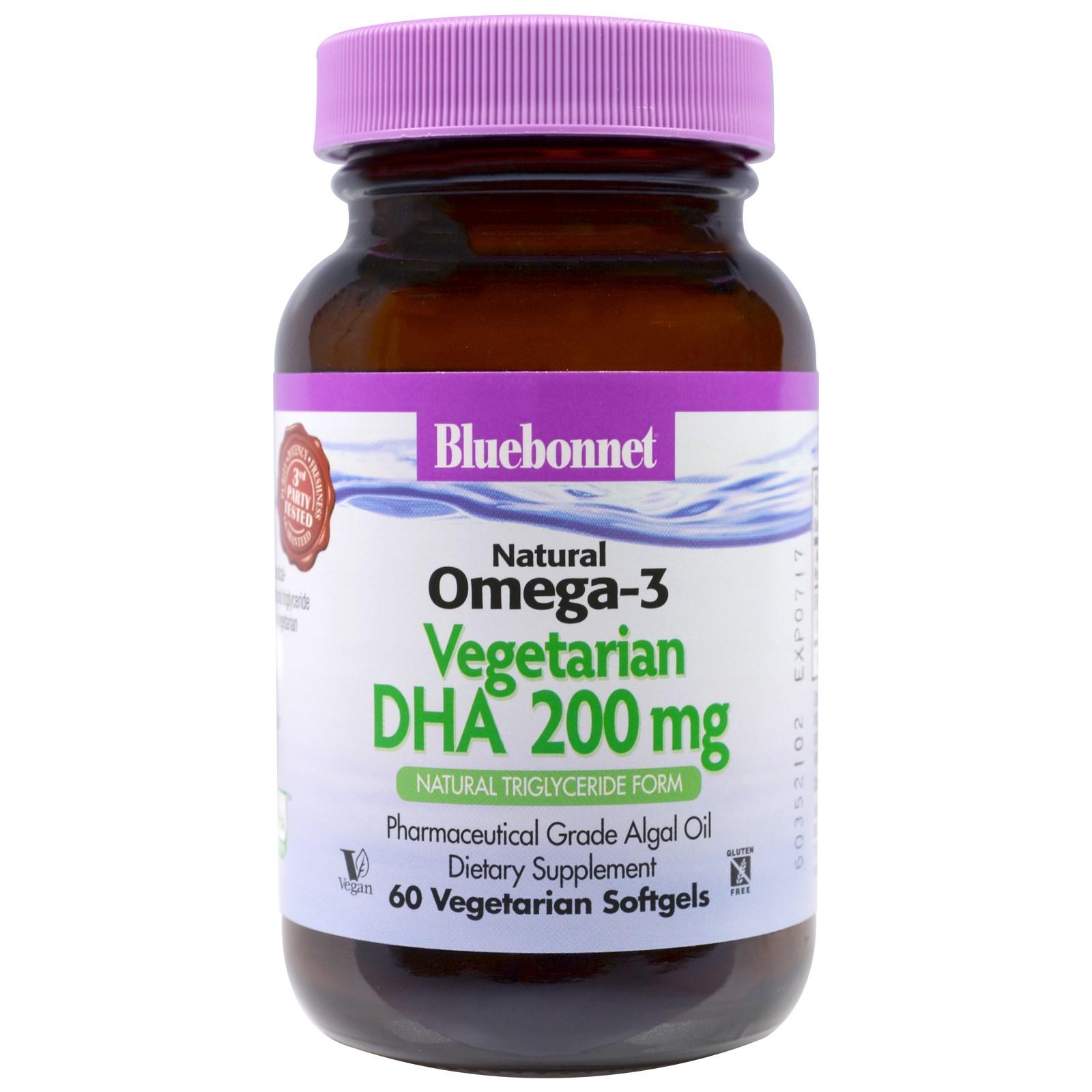 Bluebonnet Nutrition, Натуральная Омега-3, докозагексаеновая кислота (DHA) растительного происхождения, 200 мг, 60 желатиновых капсул