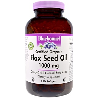 Bluebonnet Nutrition, Flax Seed Oil, Certified Organic, 1000 mg, 250 Softgels