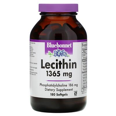 Bluebonnet Nutrition натуральный лецитин, 1365 мг, 180 мягких желатиновых капсул