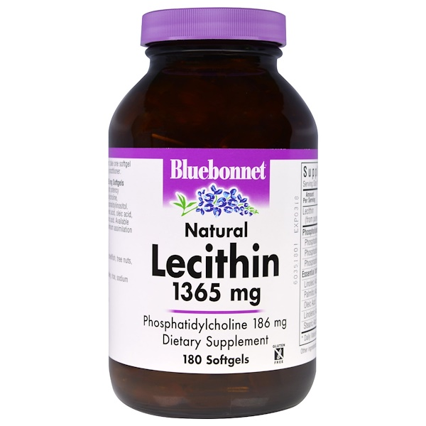 Bluebonnet Nutrition, Natural Lecithin, 1365 mg, 180 Softgels