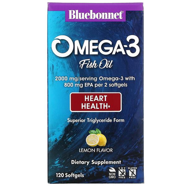 Bluebonnet Nutrition, Omega-3 Fish Oil, Heart Health, Lemon, 120 Softgels