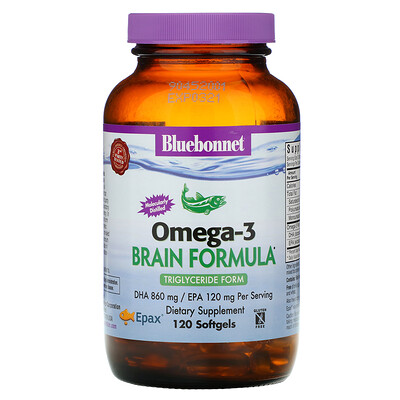 Bluebonnet Nutrition Natural Omega-3, формула для мозга, 120 мягких желатиновых капсул