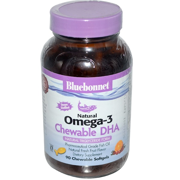 Bluebonnet Nutrition, Natural Omega-3 Chewable DHA, Natural Fresh Fruit Flavor, 90 Chewable Softgels (Discontinued Item)