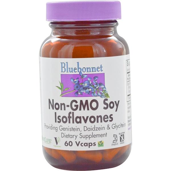 Bluebonnet Nutrition, فول الصويا الايسوفلافون غير المعدل وراثيا، 60 كبسولة نباتية