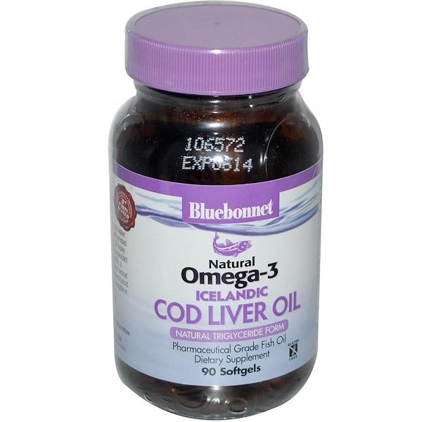 Bluebonnet Nutrition, Natural Omega-3, Icelandic Cod Liver Oil, 90 Softgels (Discontinued Item)