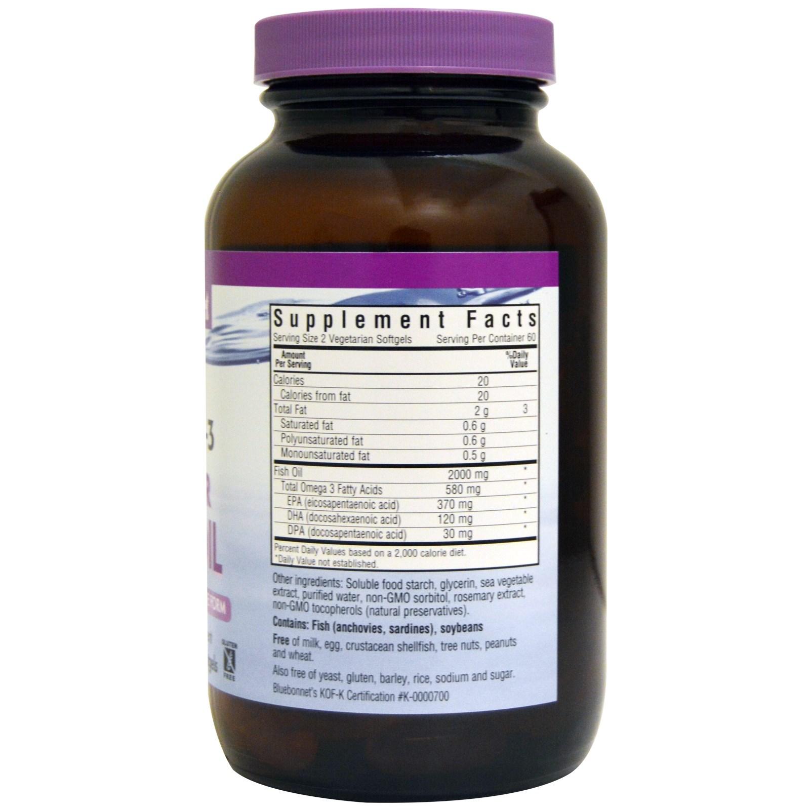 Bluebonnet Nutrition, Kosher Fish Oil, Natural Omega-3, 120