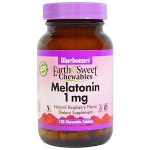Bluebonnet Nutrition, Жевательные конфеты EarthSweet, мелатонин, натуральный малиновый вкус, 1 мг, 120 жевательных таблеток