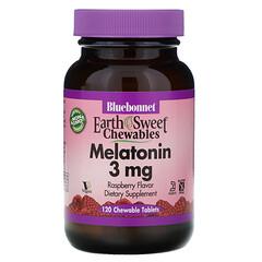Bluebonnet Nutrition, EarthSweet咀嚼劑,褪黑素,天然覆盆子味,3毫克,120粒咀嚼片
