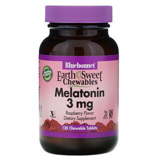 Bluebonnet Nutrition, Mastigáveis Doces da Terra, Melatonina, Sabor Natural de Framboesa, 3 mg, 120 Comprimidos Mastigáveis