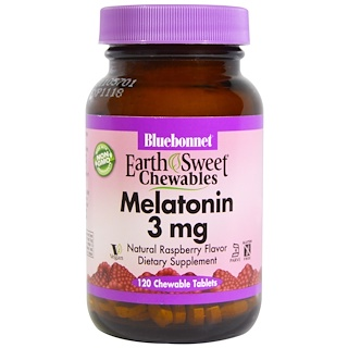 Bluebonnet Nutrition, EarthSweet Chewables, Melatonin, Natural Raspberry Flavor, 3 mg, 120 Chewable Tablets