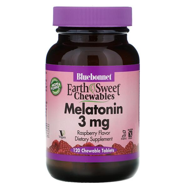 Masticables EartSweet, melatonina sabor de frambuesa natural, 3 mg, 120 comprimidos masticables