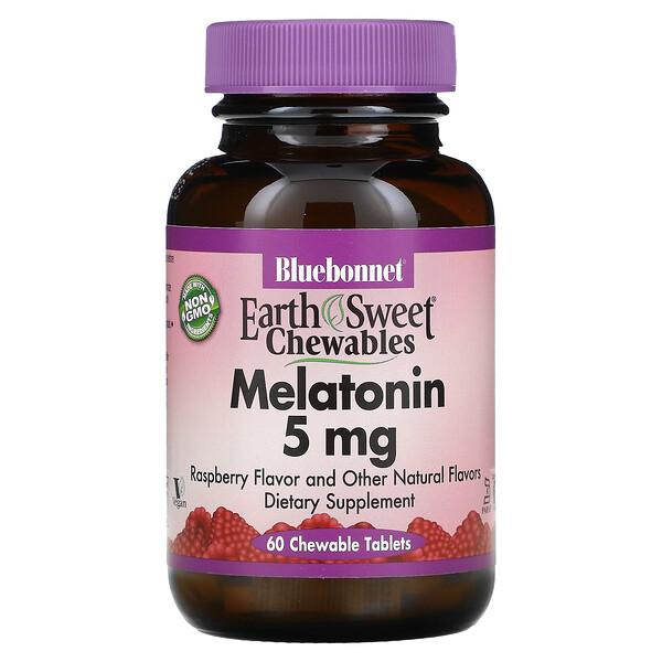 Earth Sweet Chewables, Melatonin, Raspberry Flavor, 5 mg, 60 Chewable Tablets