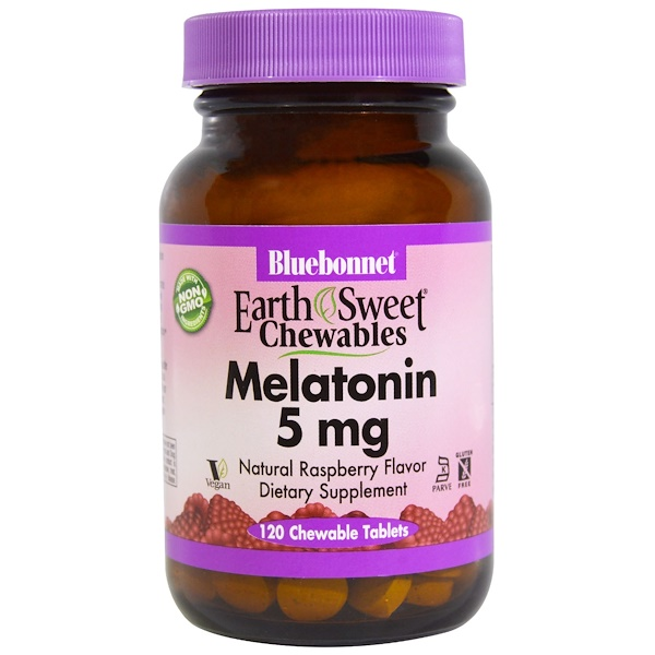 Bluebonnet Nutrition, Earth Sweet Chewables, Melatonin, Natural Raspberry Flavor, 5 mg, 120 Chewable Tablets