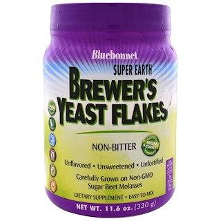 Bluebonnet Nutrition, Super Earth Brewer's Yeast Flakes, 1.16 oz (330 g)