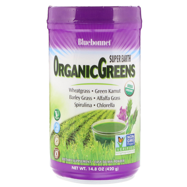 Bluebonnet Nutrition, Super Earth, Organic Greens Powder, 14.8 oz (420 g) (Discontinued Item)