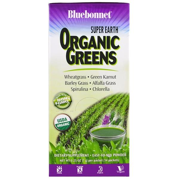 Bluebonnet Nutrition, Super Earth, Verdes Orgánicos, 14 paquetes, 0 ...