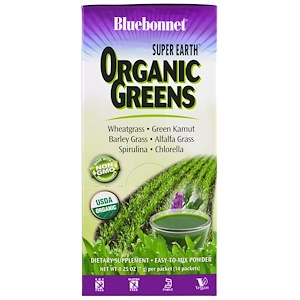Bluebonnet Nutrition, Super Earth, Organic Greens, 14 пакетов по 7 г (0.25 oz)