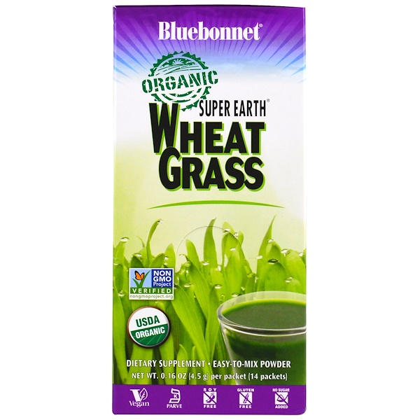 Bluebonnet Nutrition, Super Earth, Organic Wheat Grass, 14 Packets, 0、16 oz (4、5 g) Each