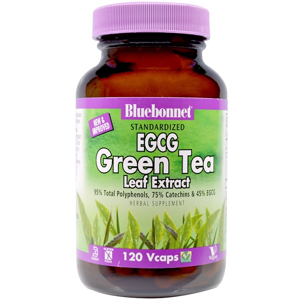 Bluebonnet Nutrition, EGCG Green Tea Leaf Extract, 120 Veggie Caps (Discontinued Item)
