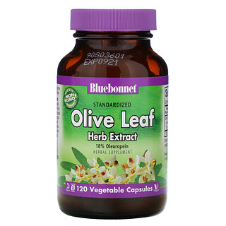 Bluebonnet Nutrition, Olive Leaf, Herb Extract, 120 Vegetable Capsules