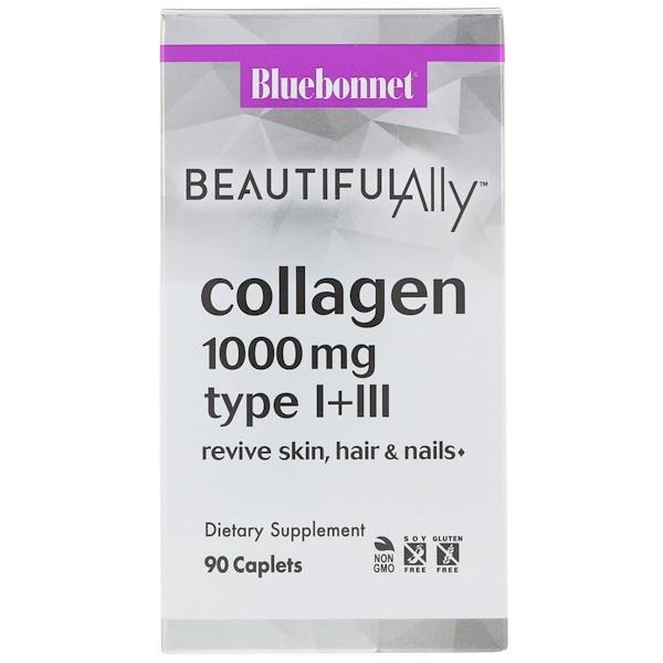 Bluebonnet Nutrition, Beautiful Ally, Collagen Type I+III, 1000 mg, 90 Caplets