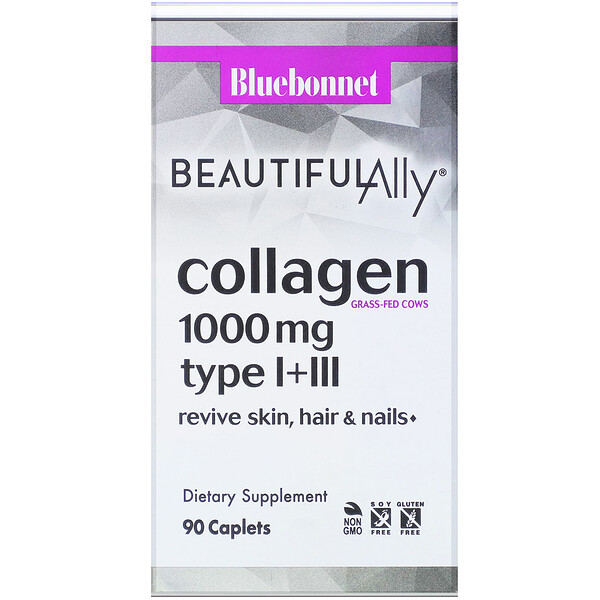 Bluebonnet Nutrition, Beautiful Ally, Collagen Type I+III, 1,000 mg, 90 Caplets (Discontinued Item)