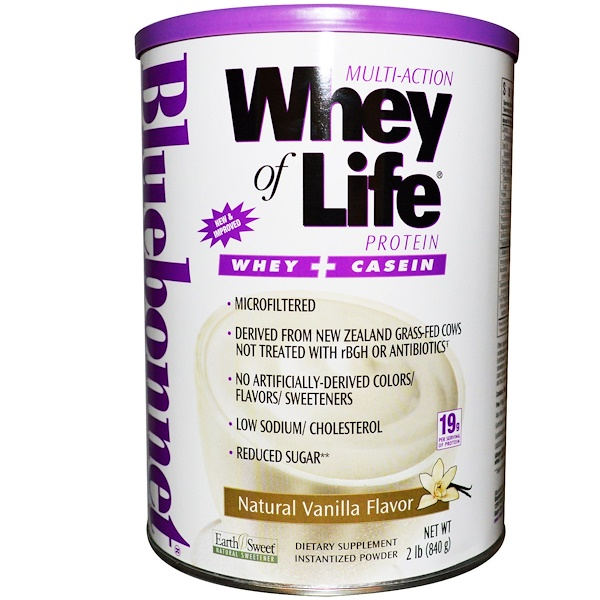 Bluebonnet Nutrition, Multi-Action Whey of Life Whey Protein, Natural Vanilla Flavor, 2 lbs (840 g) (Discontinued Item)