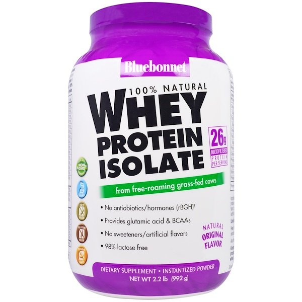 Bluebonnet Nutrition, 100% Natural Whey Protein Isolate, Natural Original Flavor, 2.2 lbs (992 g)