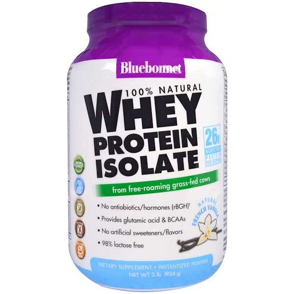 Bluebonnet Nutrition, 100% Natural Whey Protein Isolate, Natural French Vanilla, 2 lbs (924 g)