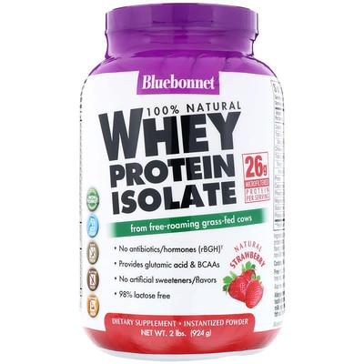 100% Натуральный Изолят Сывороточного Протеина с Клубничным Вкусом, 2 фунта (924 г)