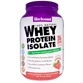Bluebonnet Nutrition, 100% Natural, Whey Protein Isolate, Natural Strawberry, 2 lbs (924 g)