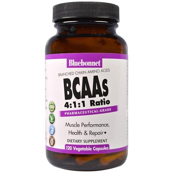 Bluebonnet Nutrition, BCAAs نسبة 4: 1: 1 (تشعب سلسلة الأحماض الأمينية)، 120 كبسولة نباتية