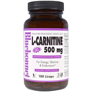 Bluebonnet Nutrition, L-карнитин, 500 мг, 100 капсул с жидкостью