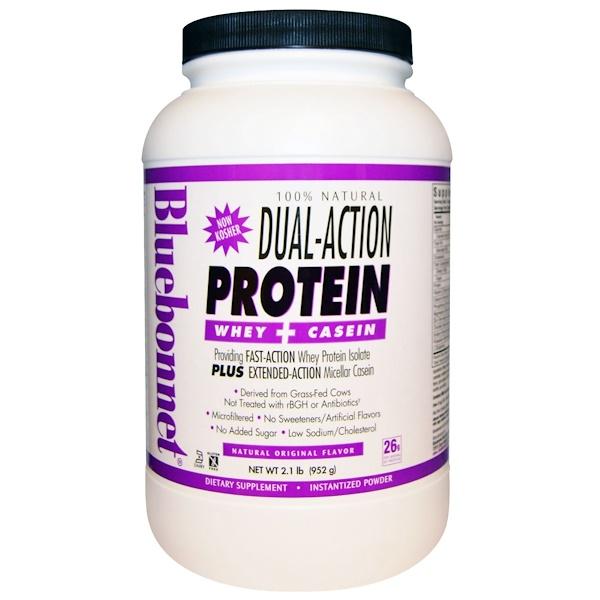 Bluebonnet Nutrition, 100%天然雙重作用蛋白乳清+酪蛋白,天然風味,2、1磅(952克)
