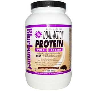Bluebonnet Nutrition, Dual-Action Protein, Whey + Casein, Natural Chocolate Flavor, 2.1 lbs (952 g)
