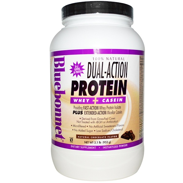 Bluebonnet Nutrition, Dual-Action Protein, Whey + Casein, Natural Chocolate Flavor, 2.1 lbs (952 g) (Discontinued Item)