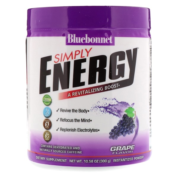 Bluebonnet Nutrition, Simply Energy, Grape Flavor, 10.58 oz (300 g) (Discontinued Item)