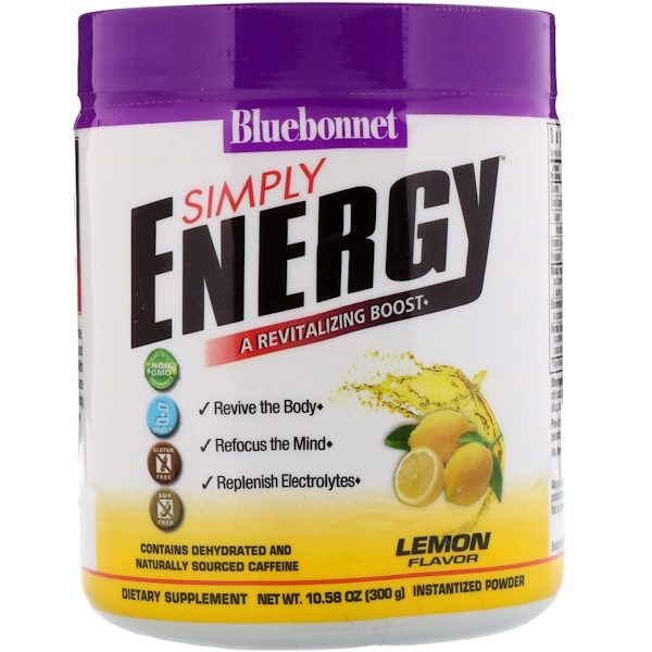 Bluebonnet Nutrition, Simply Energy، نكهة الليمون، 10.58 أونصة (300 جم) (Discontinued Item)