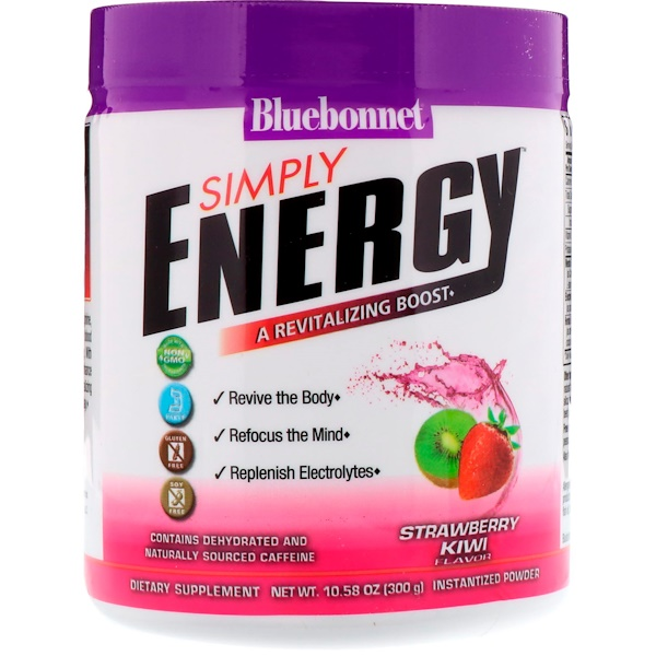 Bluebonnet Nutrition, Simply Energy، نكهة الفراولة والكيوي، 10.58 أونصة (300 جم) (Discontinued Item)