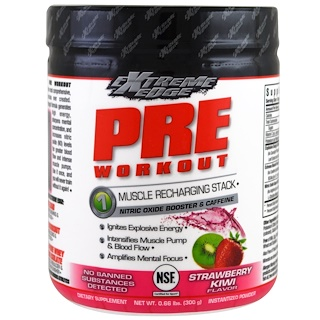 Bluebonnet Nutrition, Extreme Edge, 프리 워크아웃, 딸기 키위 맛, 0.66 lbs (300 g)