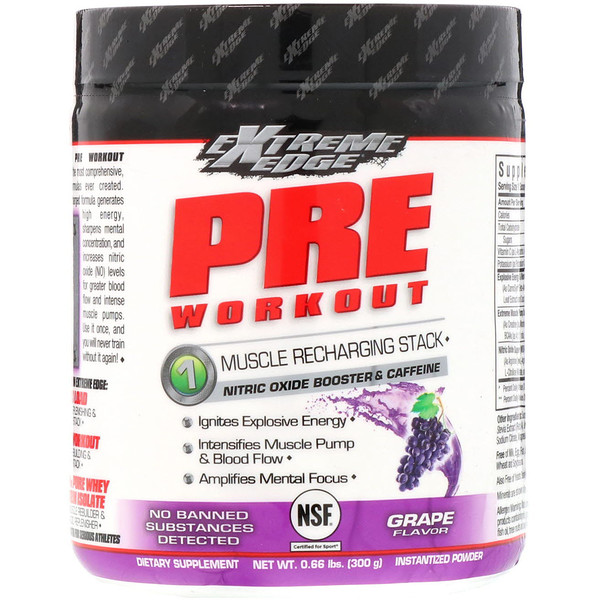 Bluebonnet Nutrition, Extreme Edge, Pre Workout, Muscle Recharging Stack, Grape Flavor, 0.66 lbs (300 g) (Discontinued Item)