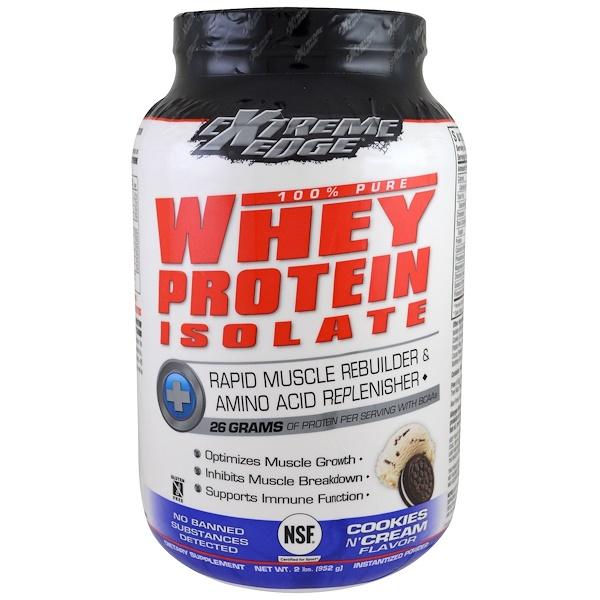Bluebonnet Nutrition, Extreme Edge, 100%-ный чистый изолят сывороточного белка, со вкусом печенья и сливок, 952 г (2 lbs) (Discontinued Item)