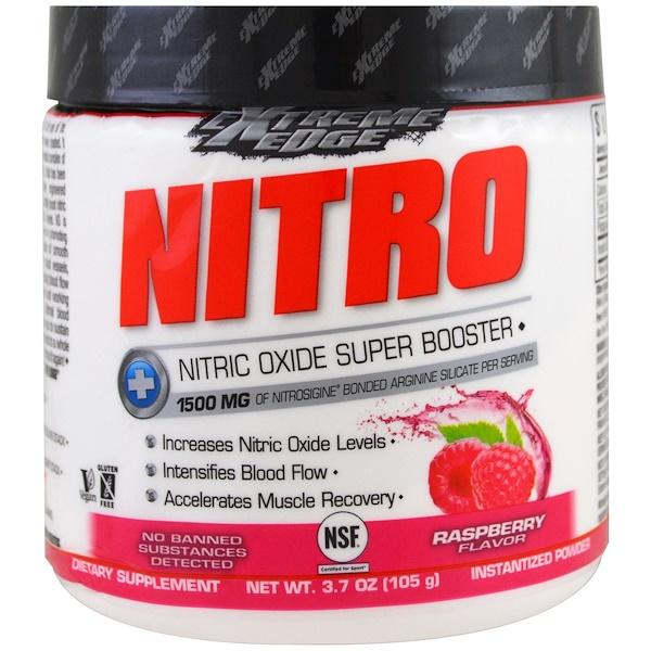 Bluebonnet Nutrition, Пищевая добавка Extreme Edge, Nitro, малиновый аромат, 3.7 унции (105 г) (Discontinued Item)