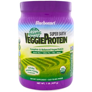 Bluebonnet Nutrition, Super Earth, Organic VeggieProtein, Natural Original Flavor, 1 lb (459 g)