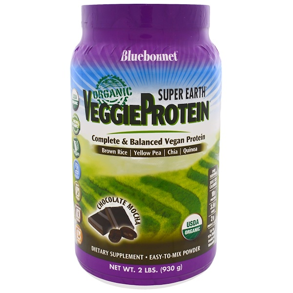 Bluebonnet Nutrition, Super Earth, органический растительный белок, шоколадный моккачино, 930 г (2 lbs) (Discontinued Item)