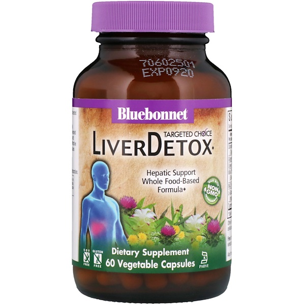 Bluebonnet Nutrition, ターゲット、肝臓デトックス、植物性カプセル60錠 (Discontinued Item)