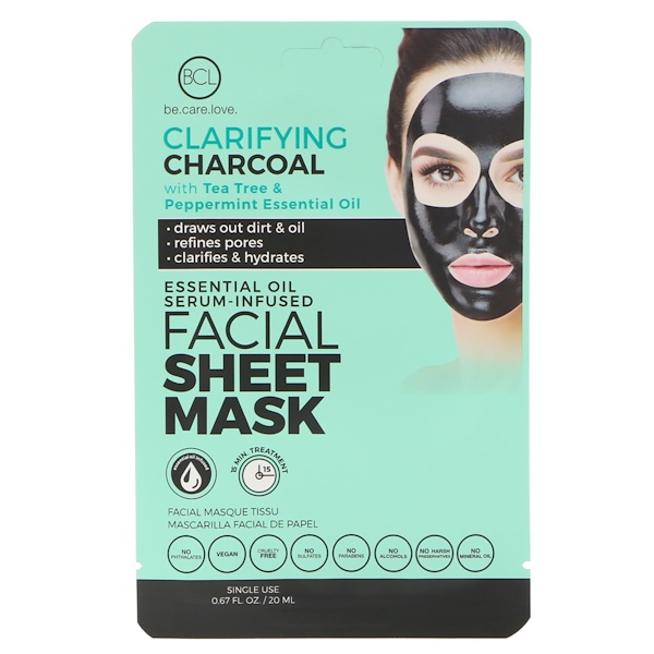 BCL, Be Care Love, Essential Oil Serum-Infused Facial Sheet Mask, Clarifying Charcoal, 1 Mask (Discontinued Item)