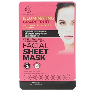 BLC, Be Care Love, Essential Oil Serum-Infused Facial Sheet Mask, Illuminating Grapefruit, 1 Mask