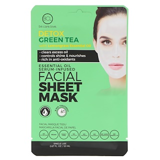 BCL, Be Care Love, Essential Oil Serum-Infused Facial Sheet Mask, Detox Green Tea, 1 Mask